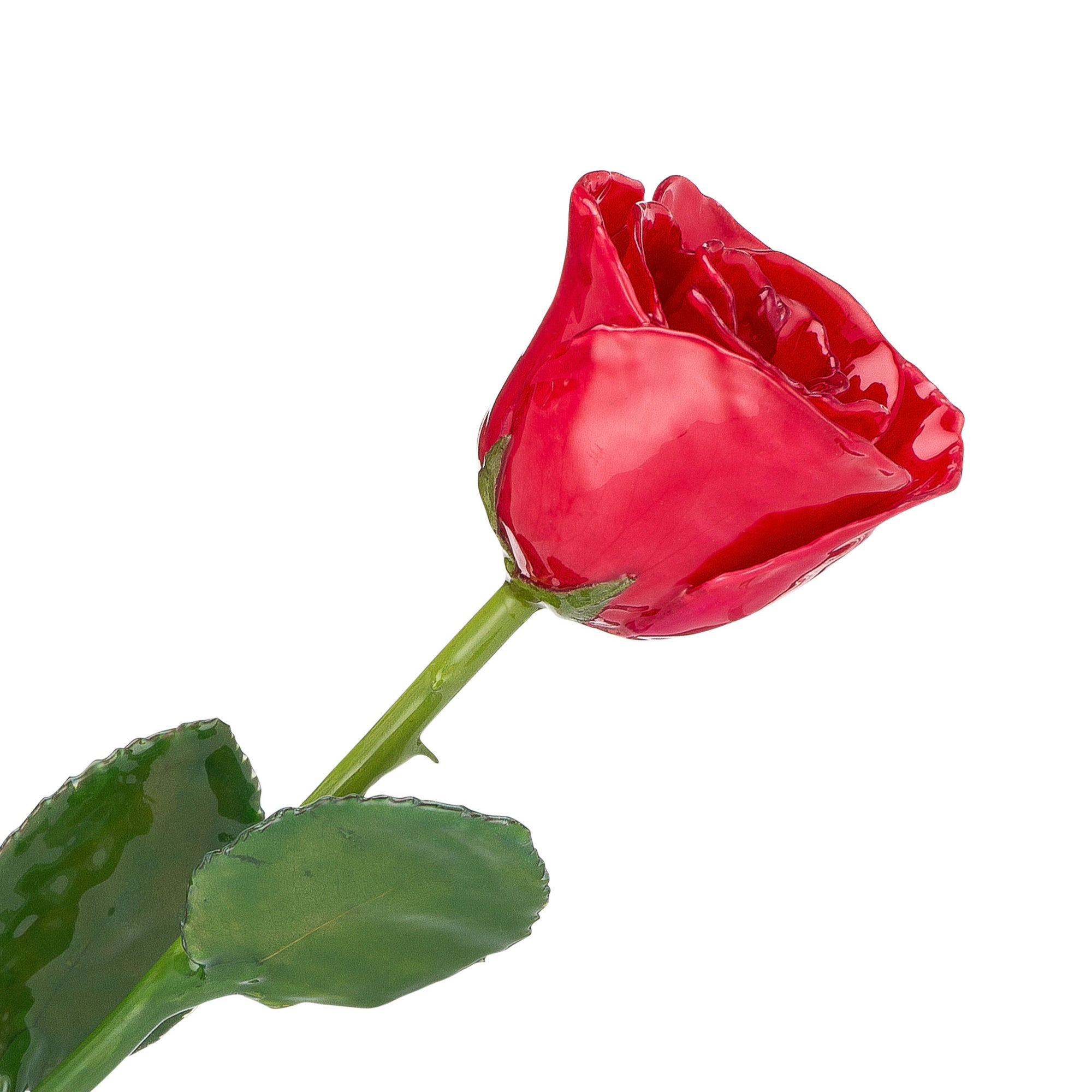 Natural (Green Stem) Forever Rose with Red Colored Petals. View of Stem, Leaves, and Rose Petals. This a Forever Rose without any gold or other precious metals on it.