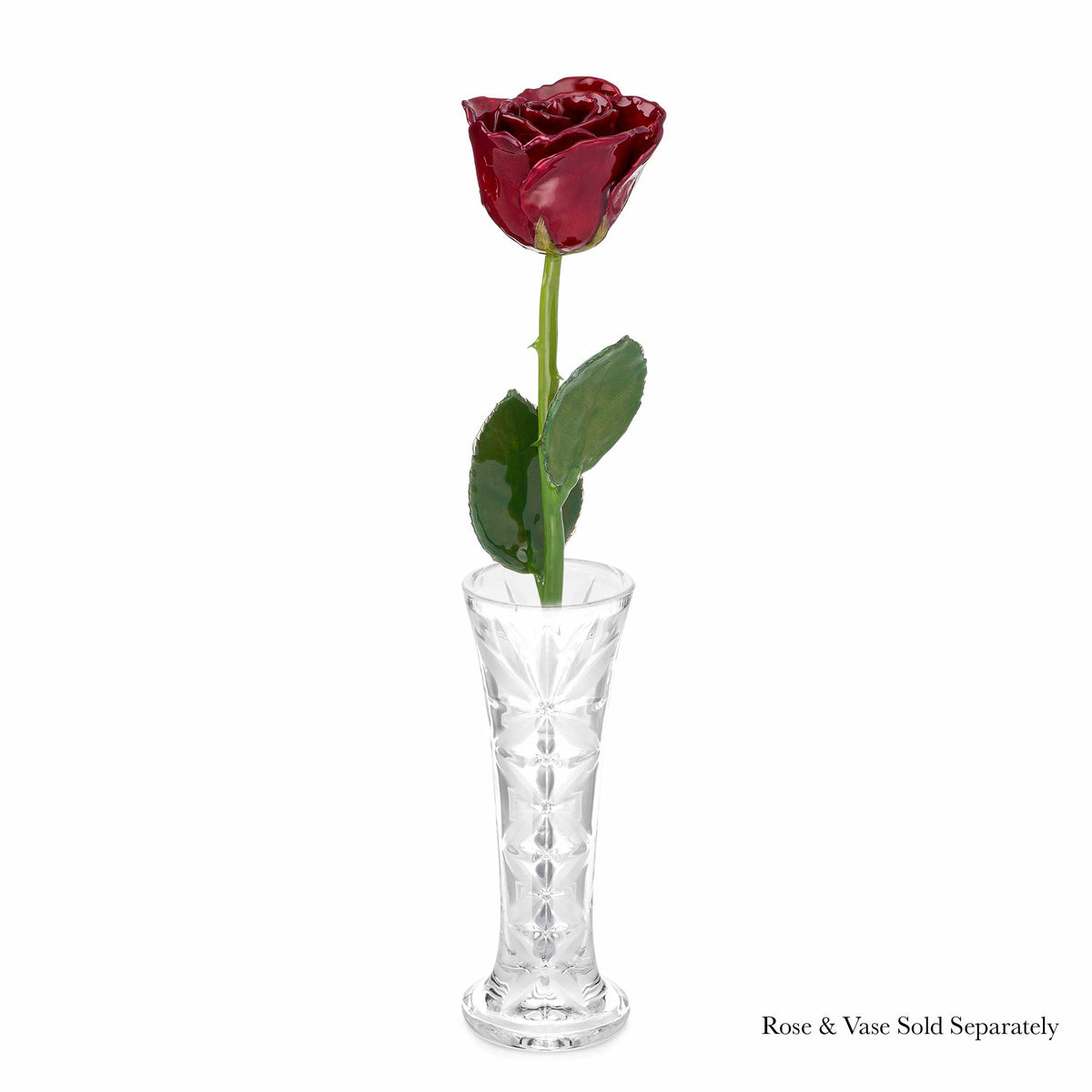 Natural (Green Stem) Forever Rose with Deep Red, Burgundy Colored Petals. View of Stem, Leaves, and Rose Petals. This a Forever Rose without any gold or other precious metals on it. shown with optional crystal vase