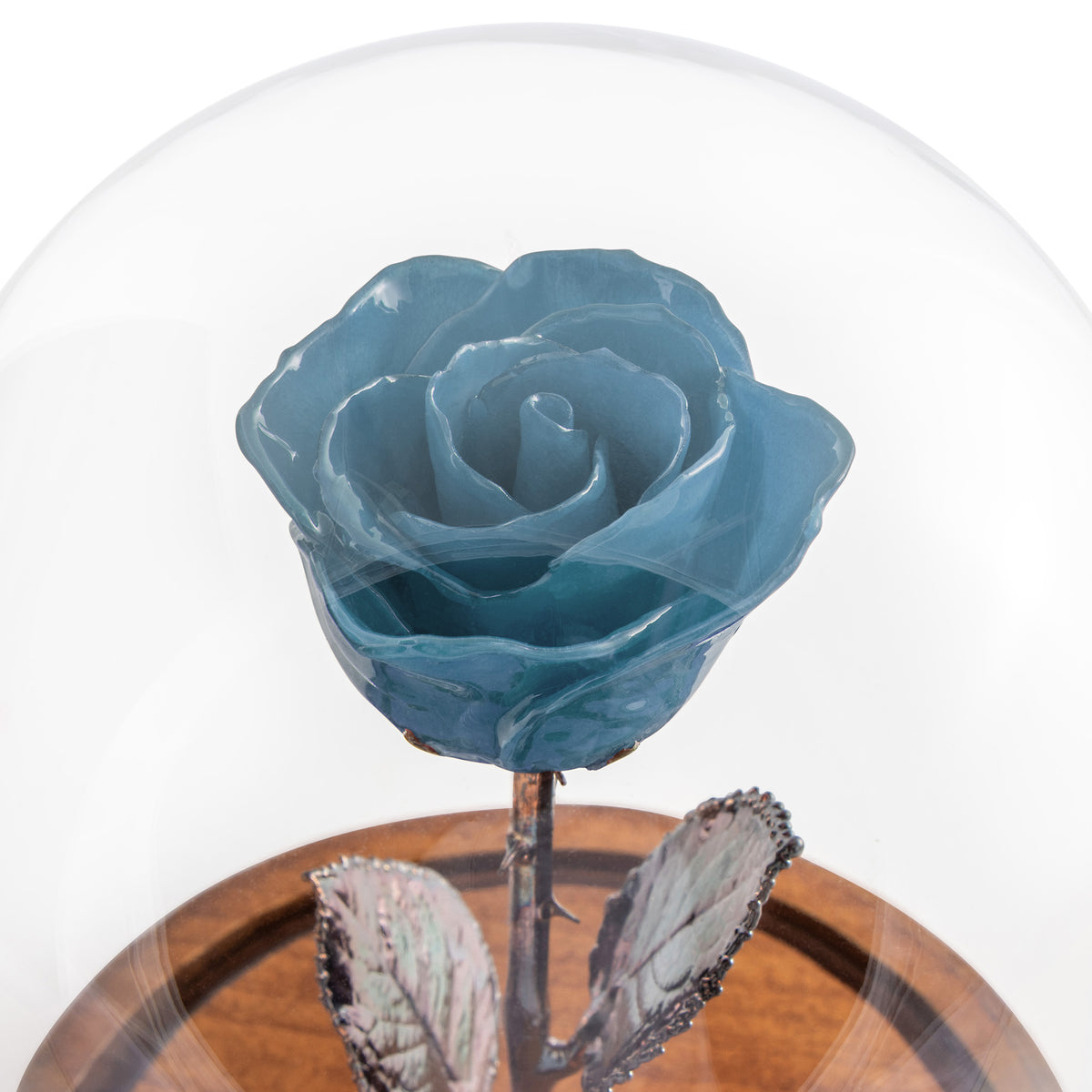 Blue Enchanted Rose (aka Beauty & The Beast Rose) with Patina Copper Stem Mounted to A Hand Turned Solid Wood Base under a glass dome. Close up of flower.