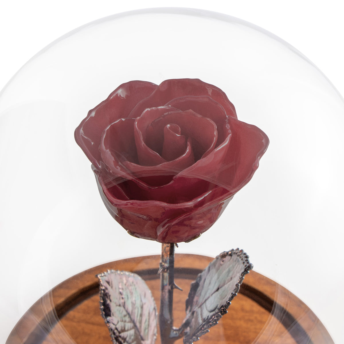 Burgundy Enchanted Rose (aka Beauty & The Beast Rose) with Patina Copper Stem Mounted to A Hand Turned Solid Wood Base under a glass dome.