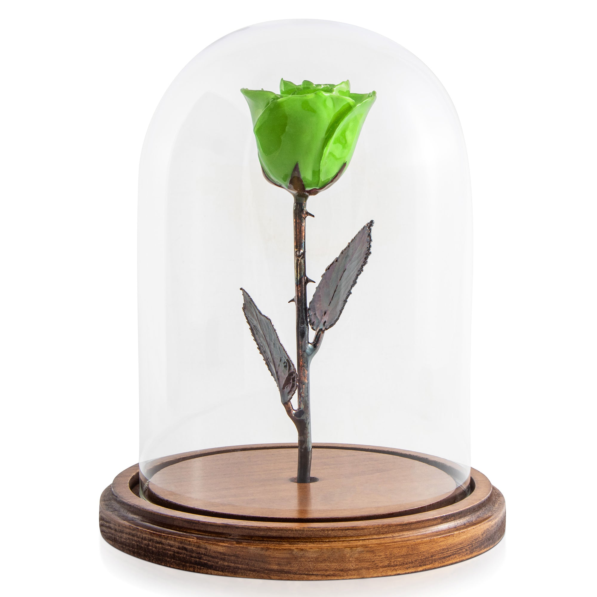 Green Enchanted Rose (aka Beauty & The Beast Rose) with Patina Copper Stem Mounted to A Hand Turned Solid Wood Base under a glass dome.