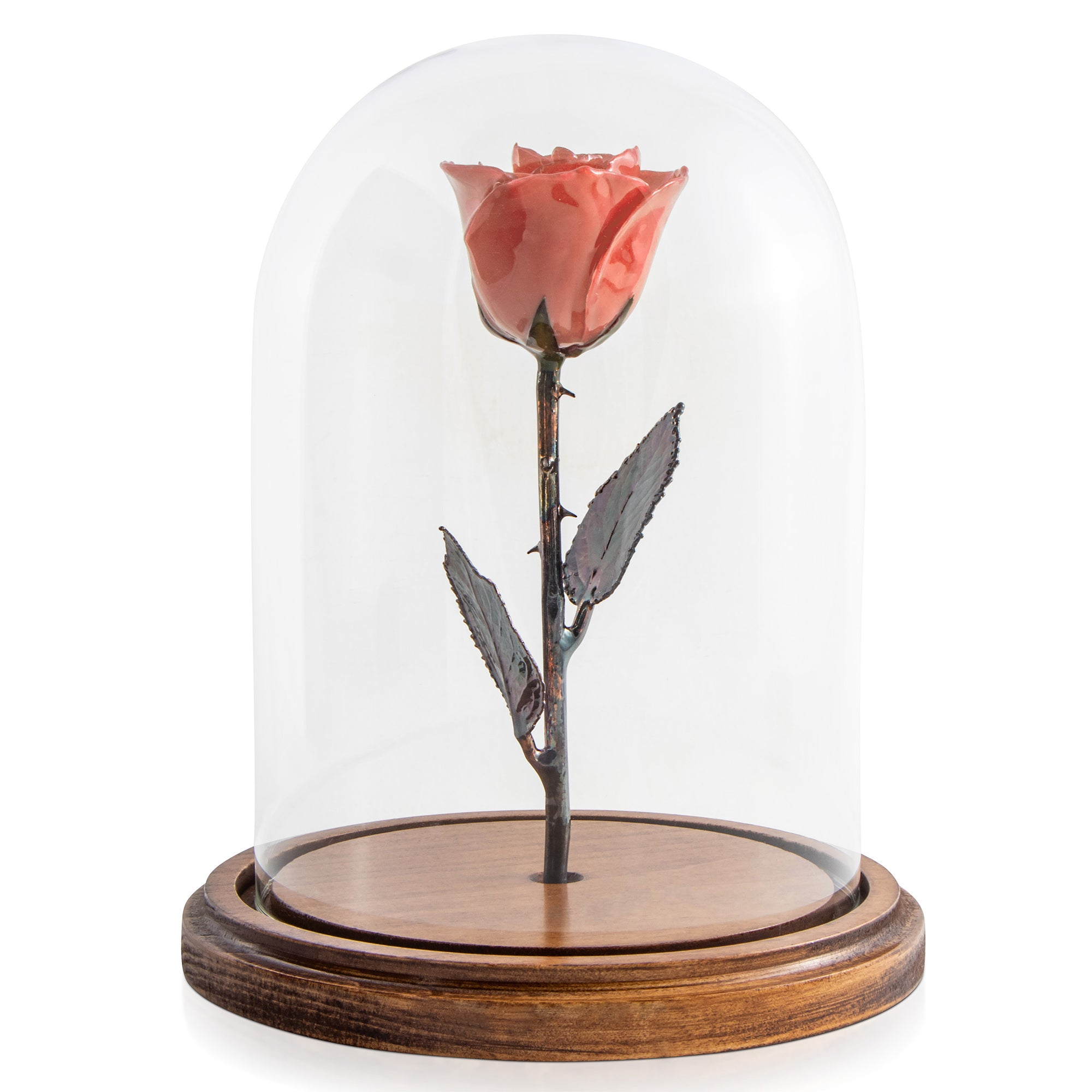 Pink Enchanted Rose (aka Beauty & The Beast Rose) with Patina Copper Stem Mounted to A Hand Turned Solid Wood Base under a glass dome.