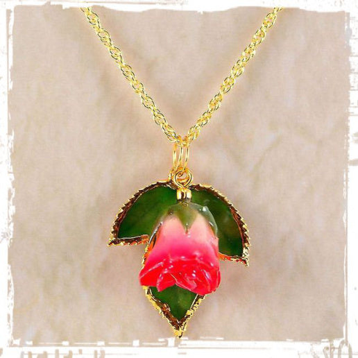 Real Forever Rose Bud w/leaves Necklace