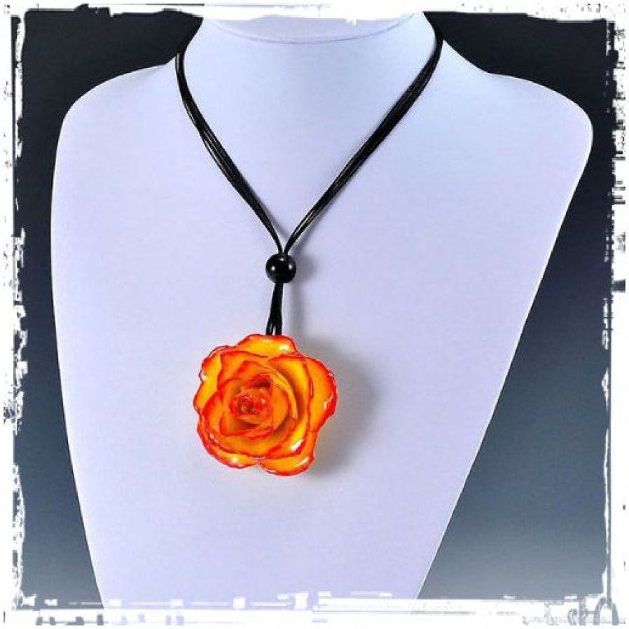 Rose Bloom Necklace on Cord