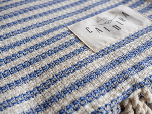 Honeycomb Blanket Towel in Denim Blue