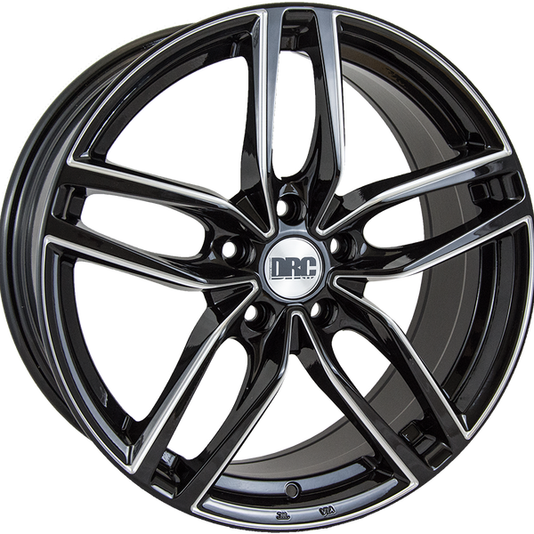 DRC - DRS, 17 x 7.5 inch, 5x112 PCD, ET45, Black / Polished Single Rim