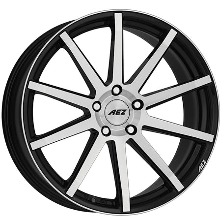 AEZ - Straight, 20 x 9.5 inch, 5x112 PCD, ET28, Black / Polished Face Single Rim