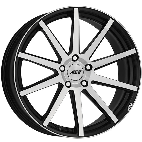 AEZ - Straight, 19 x 8.5 inch, 5x120 PCD, ET45, Black / Polished Face Single Rim