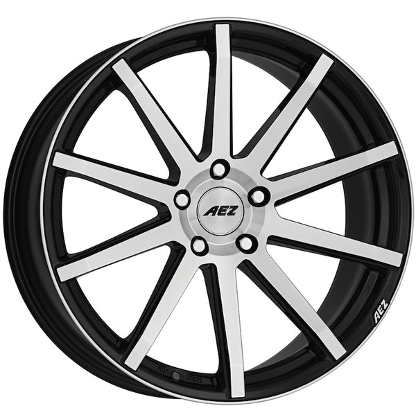 AEZ - Straight, 19 x 8.5 inch, 5x114.3 PCD, ET34, Black / Polished Face Single Rim