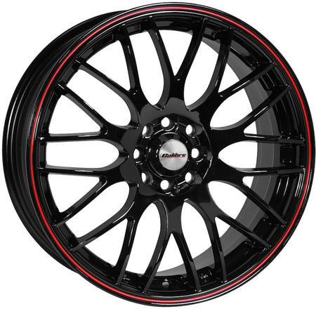 Calibre - Motion, 16 x 7 inch, 5x100 PCD, ET35, Black / Red Pinstripe Single Rim