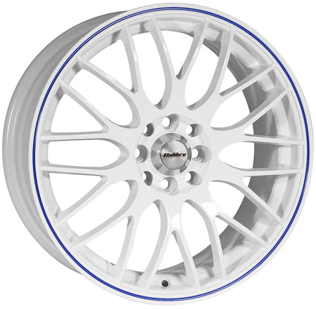 Calibre - Motion, 15 x 6.5 inch, 4x100 PCD, ET38, White / Blue Pinstripe Single Rim