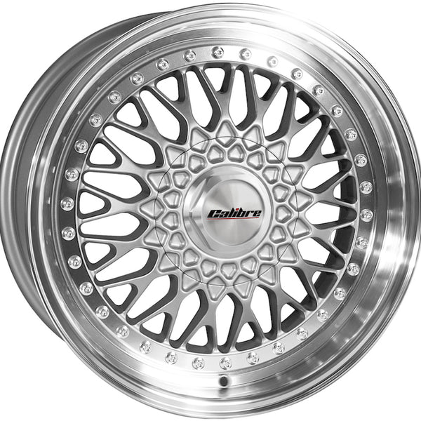 Calibre - Vintage, 15 x 7 inch, 4x100 PCD, ET30, Silver / Polished Lip Single Rim