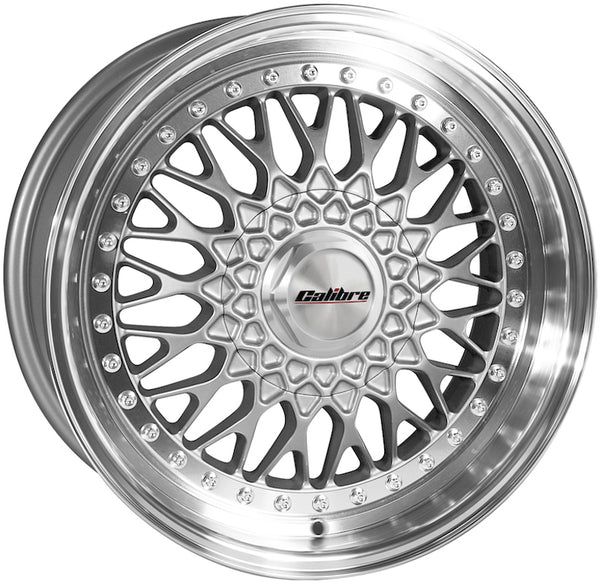 Calibre - Vintage, 17 x 8 inch, 4x100 PCD, ET35, Silver / Polished Lip Single Rim