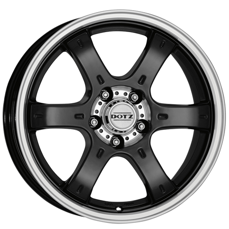 Dotz - Crunch, 16 x 8 inch, 6x114.3 PCD, ET30, Black / Polished Lip Single Rim