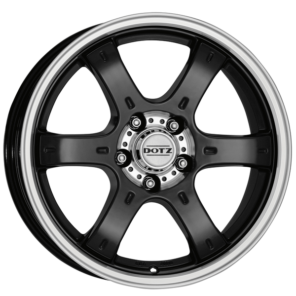 Dotz - Crunch, 16 x 8 inch, 5x114.3 PCD, ET25, Black / Polished Lip Single Rim