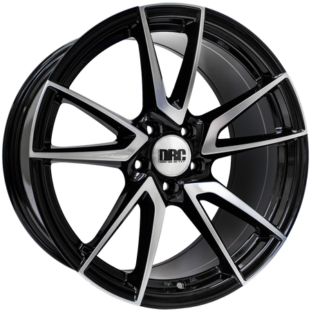 DRC - DLA, 19 x 8.5 inch, 5x112 PCD, ET45, Black / Polished Face Single Rim