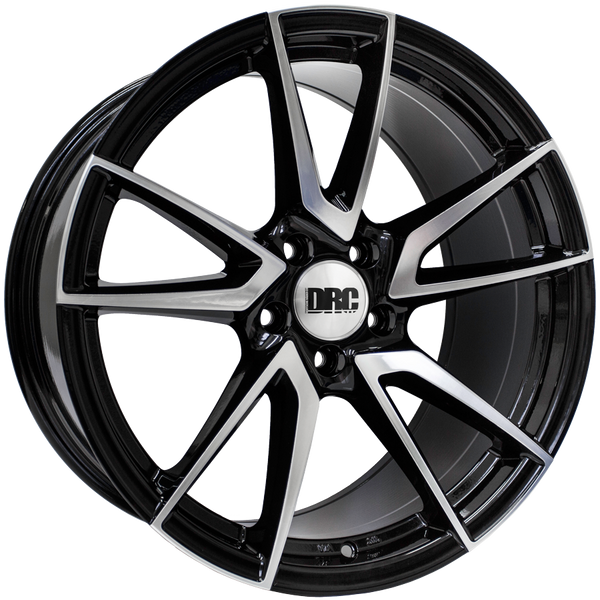 DRC - DLA, 19 x 8.5 inch, 5x114.3 PCD, ET45, Black / Polished Face Single Rim
