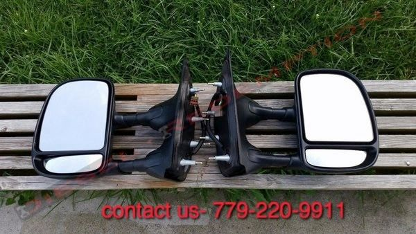 Ford Econoline Eseries E150 E250 E350 Towing Telescoping PWR Side Mirrors Mirror FREE SHIPPING TO CONTINENTAL US ONLY