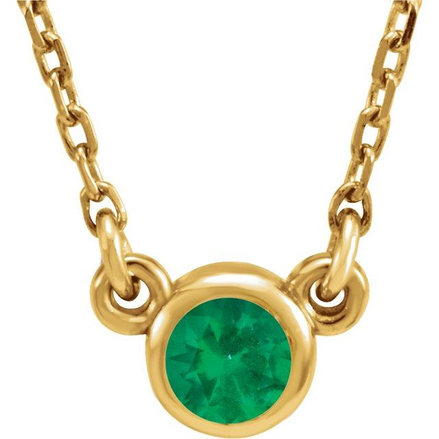 Simple Emerald Bezel Necklace - May Birthstone Pendant