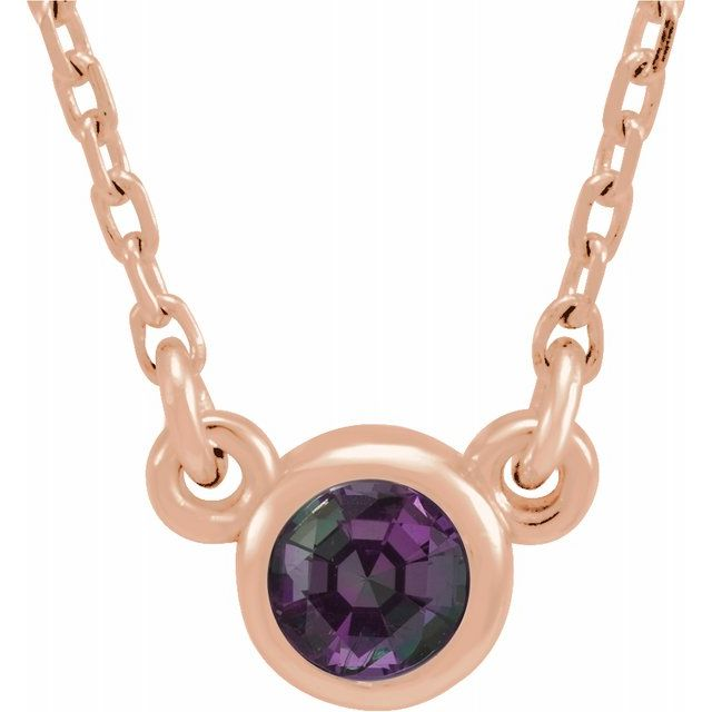 Simple Alexandrite Bezel Necklace - June Birthstone Pendant