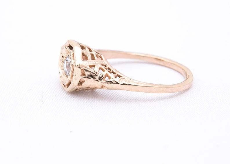 Filigree Diamond Engagement Ring - Edwardian Era Diamond Ring - 14 Karat Yellow Gold - 0.215ct Old Cut Diamond