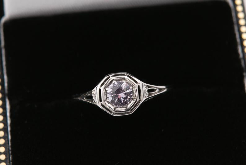 Edwardian Pink Sapphire Engagement Ring, Vintage Engagement Ring, Light Pink Montana Sapphire, 14 Karat White Gold