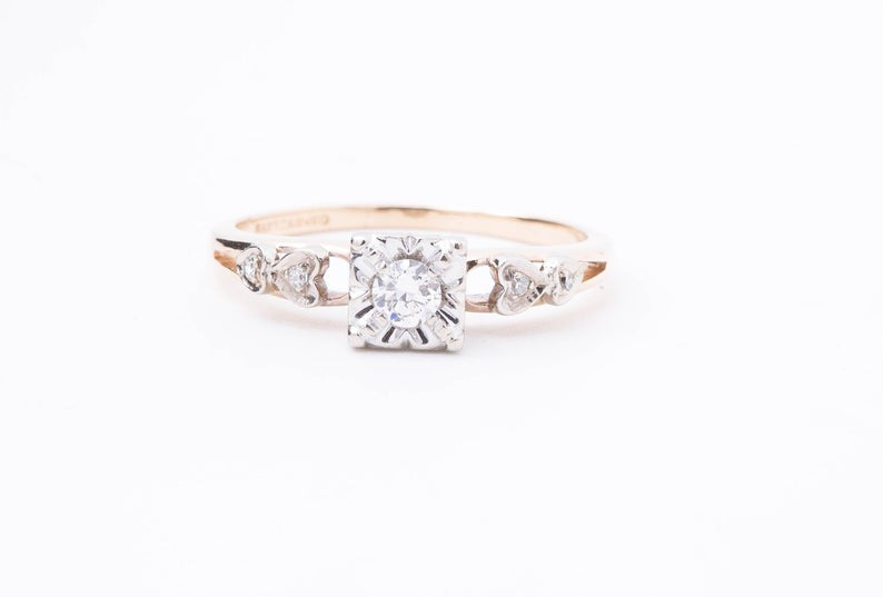 Vintage Diamond Engagement Ring - Diamond Ring with Heart Accents - 14 Karat Yellow and White Gold