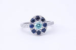 Fancy Blue Diamond and Sapphire Ring
