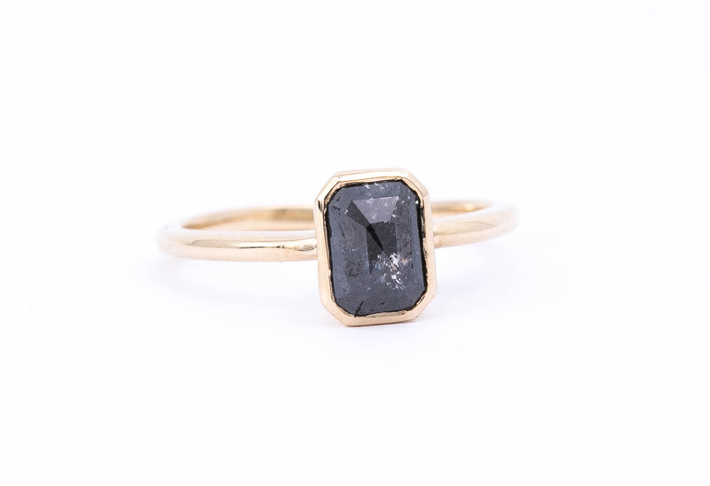 Emerald Shaped Black Diamond Ring