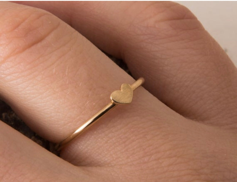 Dainty Gold Heart Ring - Handmade