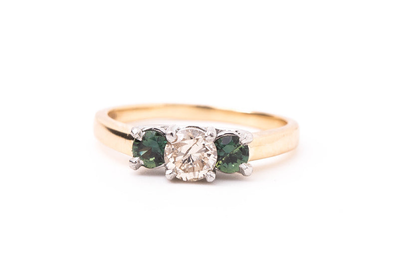 Estate Diamond Green Sapphire Ring