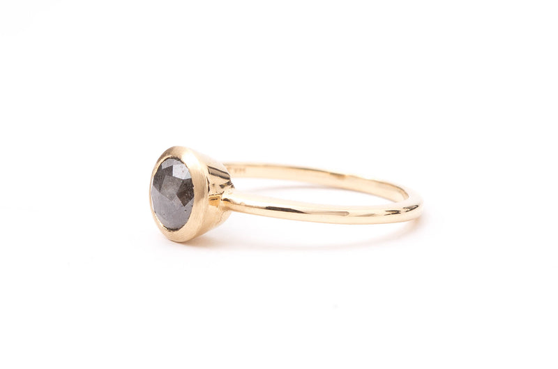 Salt + Pepper Modified Rose Cut Diamond Ring in Yellow Gold