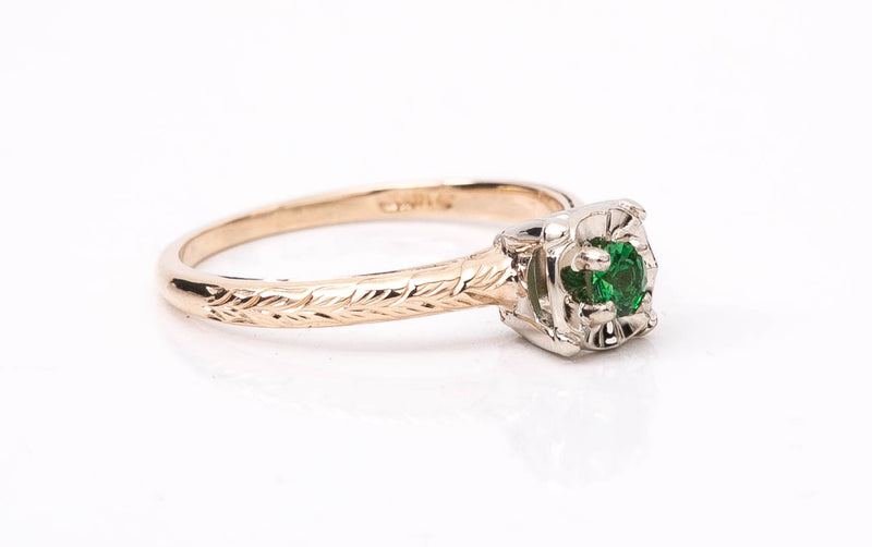 Antique Hand Engraved Tsavorite Garnet Ring