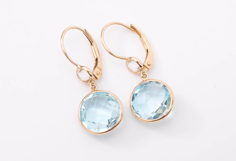 Blue Topaz + Crystal Quartz Gold Dangles
