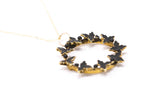 Antique Black Enameled Leaf Pendant