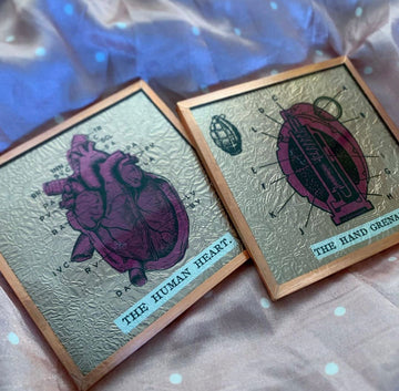 The Pickards Heart Grenade Series Glass Art Tiles
