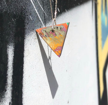 Graffiti Ore Small Reversible Pendant on Sterling Silver Chain