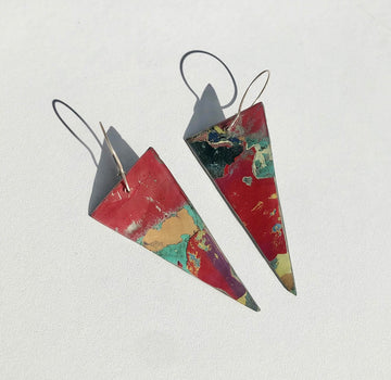 Graffiti Ore Reversible Red/Moon Grey Triangle Statement Earrings