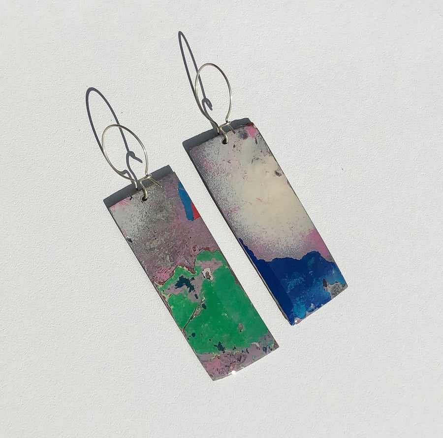 Graffiti Ore Reversible Purple/Pink/Teal Rectangle Statement Earrings