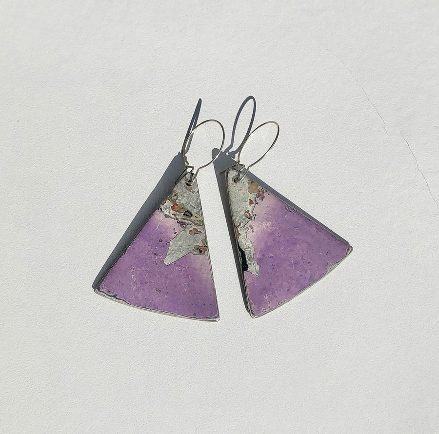 Graffiti Ore Reversible Purple Triangle Statement Earrings