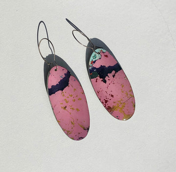 Graffiti Ore Reversible Pink/Light Blue Oval Statement Earrings