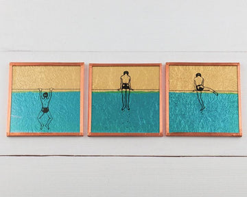 The Pickards How To Get Out Of The Pool Series Glass Art Tiles