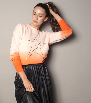 We Are The Others Dipped Orange Star Sweater