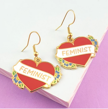 JUBLY UMPH FEMINIST HEART EARRINGS