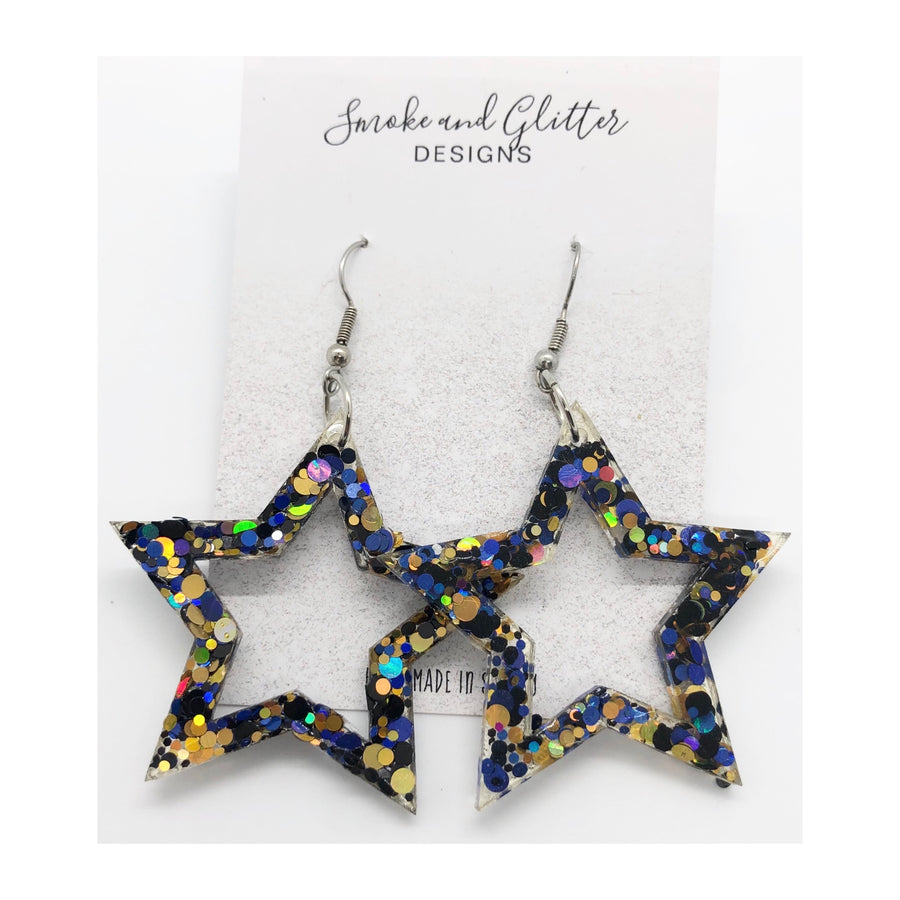Smoke and Glitter Designs Super Star Blue & Gold Sparkle