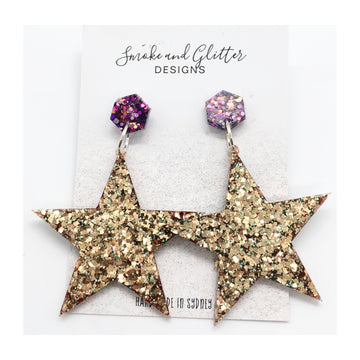 Smoke and Glitter Designs Hollywood Gold Earrings