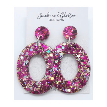 Smoke and Glitter Oval Pink Sparkle Studs
