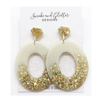 Smoke and Glitter Oval Cream & Gold Sparkle Studs