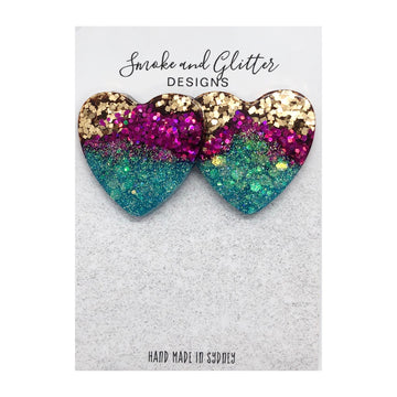 Smoke and Glitter Tainted Love Gold, Purple & Teal Studs