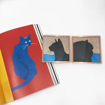 The Pickards Feline Face Off Glass Art Tiles